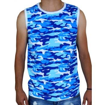 Тениска Без ръкав - синьо бял камуфлаж Тениска Без ръкав - синьо бял камуфлаж