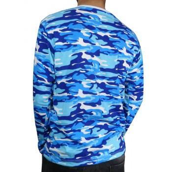 Тениска с дълъг ръкав - Синьо бял камуфлаж Тениска с дълъг ръкав - Синьо бял камуфлаж