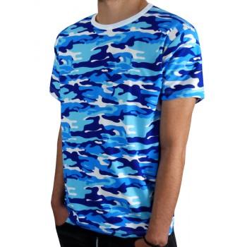 Тениска с къс ръкав - Синьо бял камуфлаж Тениска с къс ръкав - Синьо бял камуфлаж