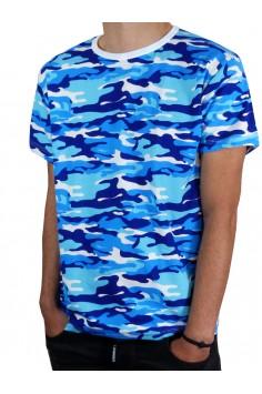 Тениска с къс ръкав - Синьо бял камуфлаж