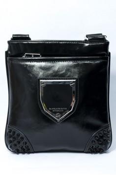 Мъжка черна чанта с шипове от изкуствена кожа
