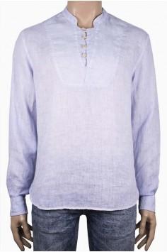 Мъжка свободна ленена риза в светло синьо