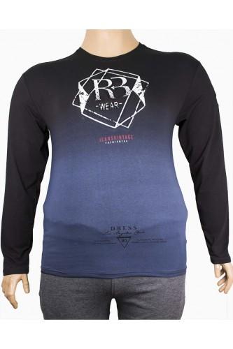 Мъжка трикотажна блуза с принт (от 2XL до 5XL)