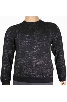 Мъжка трикотажна блуза в черен цвят с пръски (от 3XL до 5XL)