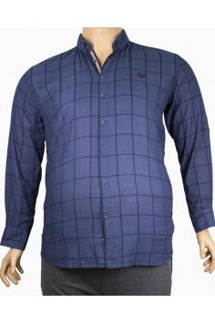 Мъжка риза в тъмно синьо каре