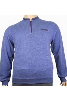 Мъжка блуза с цип и декоративен джоб(от 2XL до 5XL)