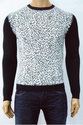 Плетена мъжка блуза с леопардова шарка от заешки косъм