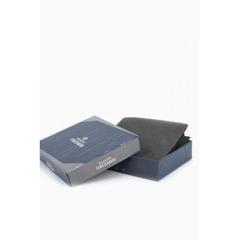 Едноцветно кожено портмоне в сив цвят