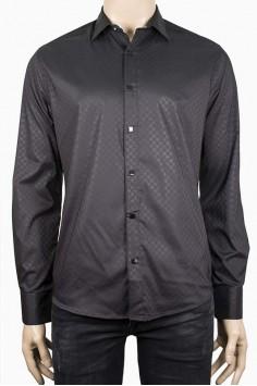Елегантна мъжка риза в черен цвят с фигурален десен