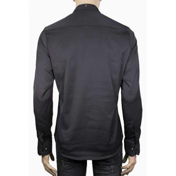 Стилна мъжка риза в черен цвят с релефни точки