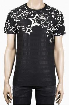 Мъжка черна тениска с принт бели звезди