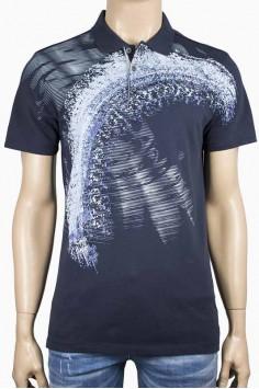 Мъжка тениска с яка в тъмно син цвят