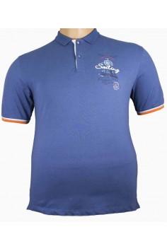 Свежа лятна тениска с яка в син цвят (от 3XL до 5XL)