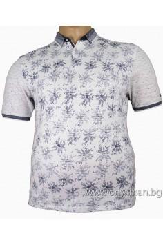 Мъжка тениска с яка и принт цветя (от 3XL до 5XL)
