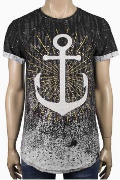 Мъжка преливаща в сиво тениска с Котва