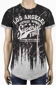 Издължена тениска в преливащо сиво LA