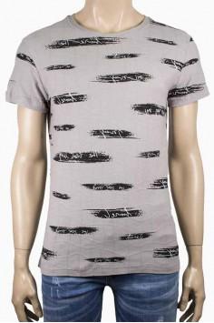 Свежа лятна тениска в сиво с принт