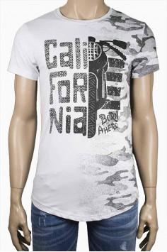 Мъжка тениска в бяло с мотор Series