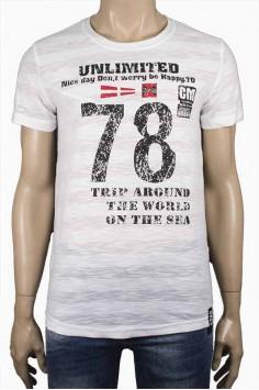 Тениска в бял цвят с надпис 78