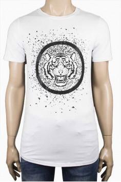 Мъжка тениска в бял цвят с тигър и камъни