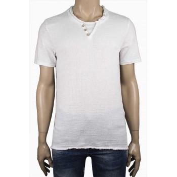 Мъжка ленена тениска в тъмно син с разнищен край