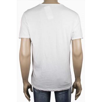 Мъжка ленена тениска в бяло с принт
