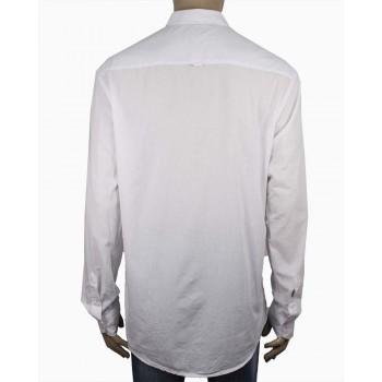 Стилна мъжка риза в бял цвят (Големи размери)