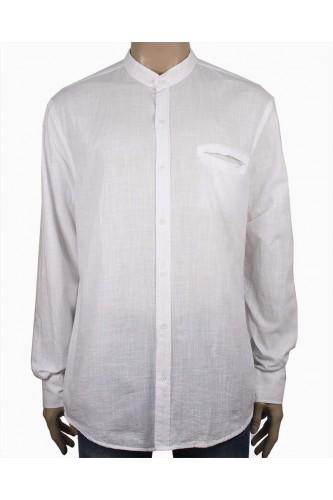 Мъжка риза в бял цвят със столче яка (Големи размери)