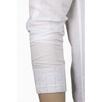 Бяла класна ленена риза с морски принт