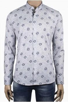 Мъжка риза слим фит с флорални елементи