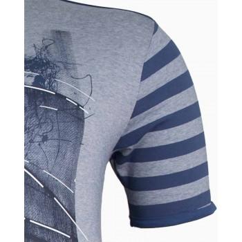 Мъжка тениска с ръкави на райета (Големи размери)