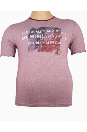 Мъжка тениска в бордо (Големи размери)