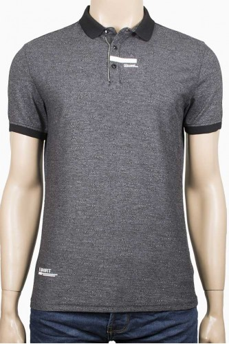 Вталена тениска с яка в тъмно сиво