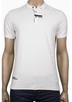 Вталена тениска с яка в бяло