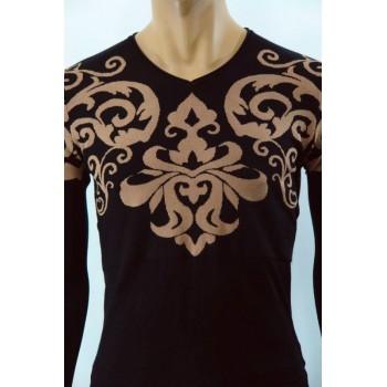 Мъжка плетена блуза с флорални мотиви