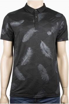 Елегантна тениска с якичка и десен пера