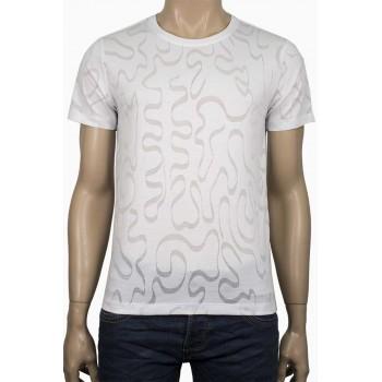 Тъмно сива тениска с прозрачни вълнообразни линии