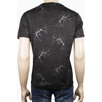 Елегантна тениска с остро деколте и мраморни линии