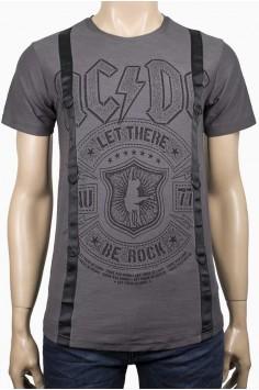 Тениска с надпис Rock в тъмно сиво