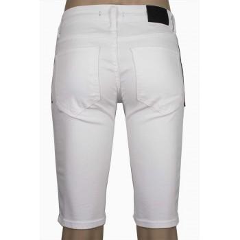 Късо бяло дънки с декоративен цип