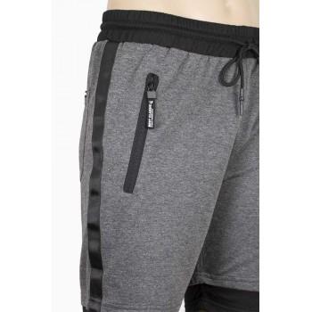 Къс спортен панталон в сиво с черни кантове