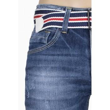 Къси стилни дънки с колан