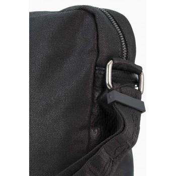 Мъжка чанта в комбинация с кожа и плат