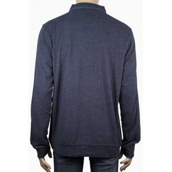 Мъжка блуза с якичка и цип в тъмно синьо