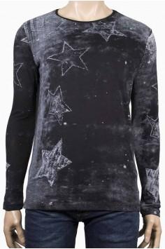 Мъжка черна трикотажна тениска Звезди