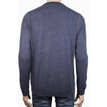 Стилна мъжка блуза с копченца в тъмно синьо