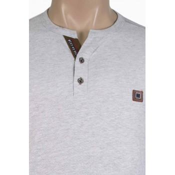 Стилна мъжка блуза с копченца в светло сиво