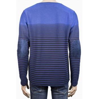 Елегантна блуза с остро деколте в синьо