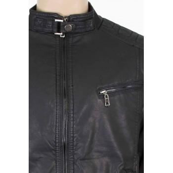 Стилно яке от изкуствена кожа в черно