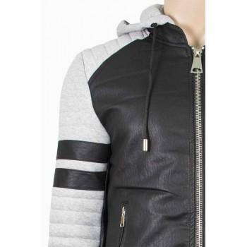 Мъжко яке в комбинация с кожа и текстил